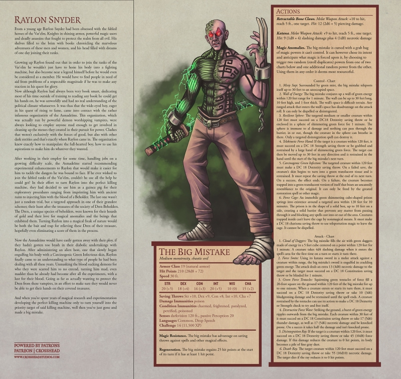 RYAN REYNOLDS BIG MISTAKE D&D 5E STATS ONLINE MONSTER MANUAL